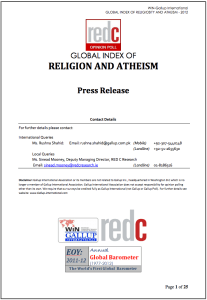 GLOBAL INDEX OF RELIGION AND ATHEISM (WIN-Gallup International, 2012)
