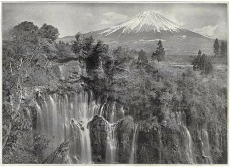 Herbert G. Ponting - le Fuji avec en premier plan la cascade Shira-Ito, publié par K. Ogawa en 1905