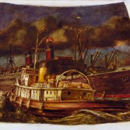 Reginald Marsh - Atlantic liner in harbor with Tug (mural study, US Customs House, NY), 1937