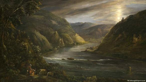 Georg Schneider - Clair de lune sur le Rhin et les ruines de l'Erenfels, 1790