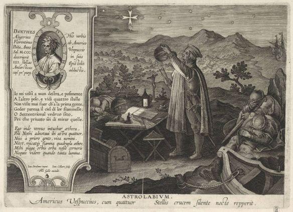 Gravure d'environ 1600 qui montre Vespucci observant la Croix du Sud.