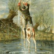 Baron Munchausen's remarkable leap Illustration by Alphonse Adolf Bichard