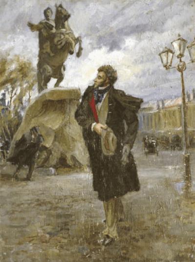 Vladimir Stojarov 1926-1973 Pouchkine et le cavalier de bronze 1946