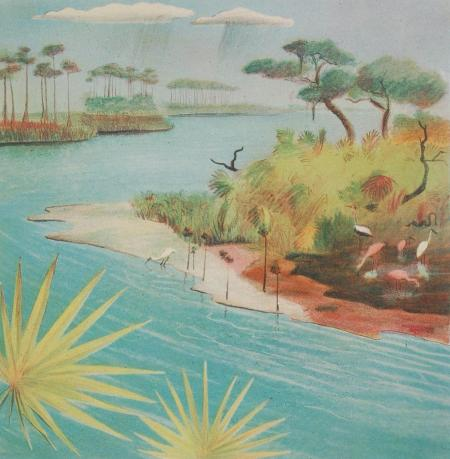 Buell Whitehead. Lithograph, Pond Birds,