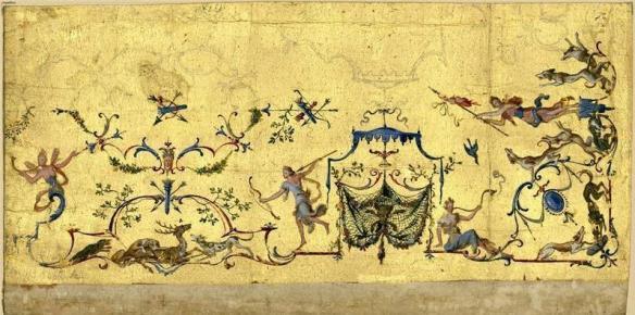 Claude Autran III - Arabesque sur fond or, vers 1700