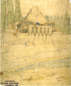 Perspective and partial plan for the Shore Type Cabin, the Lake Tahoe Summer Colony. Office of Frank Lloyd Wright. Graphite and colored pencil on tracing paper, ca. 1923..png