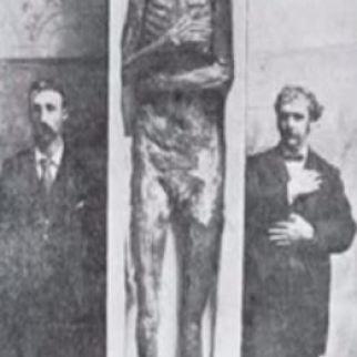 Mound Builder skeleton w moderns at Smithsonian
