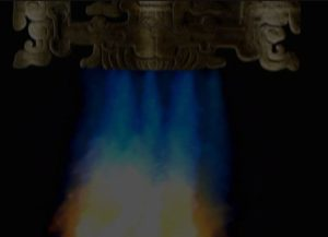 Mayan Astronaut Lord Pikal Close up showing exhaust flames 2 AAstros Season 4, Disk 1