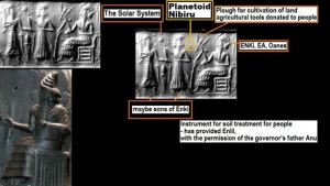 Cuneiform Enki with Lulu and solar system in background