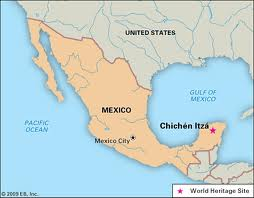 Chichen Itza Yucatan south east map very large mex1