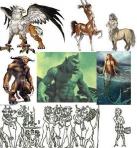 Genetic experiments: griffin, centaurs, minotar, cyclops, mermaid, failures