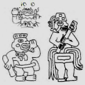 "Figure on top's bearded, not Native American. Lower left--an Olmec; Lower right, a ""giant"" with a weapon or tool. (Lost Realms: 192]"