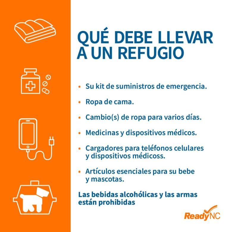Artículos que debe llevar a un refugio en caso de huracán
