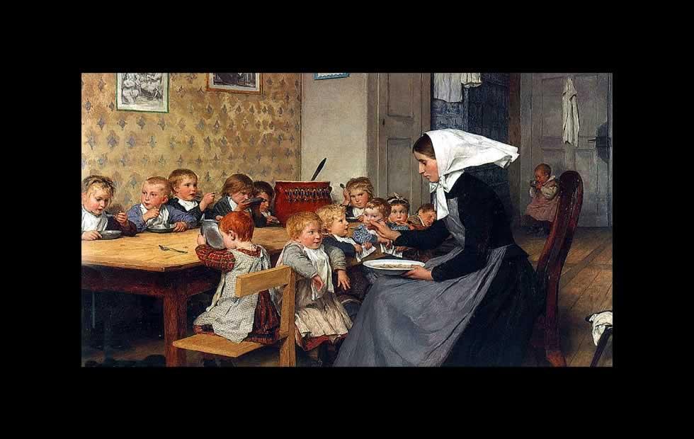 Maestra y alumnos