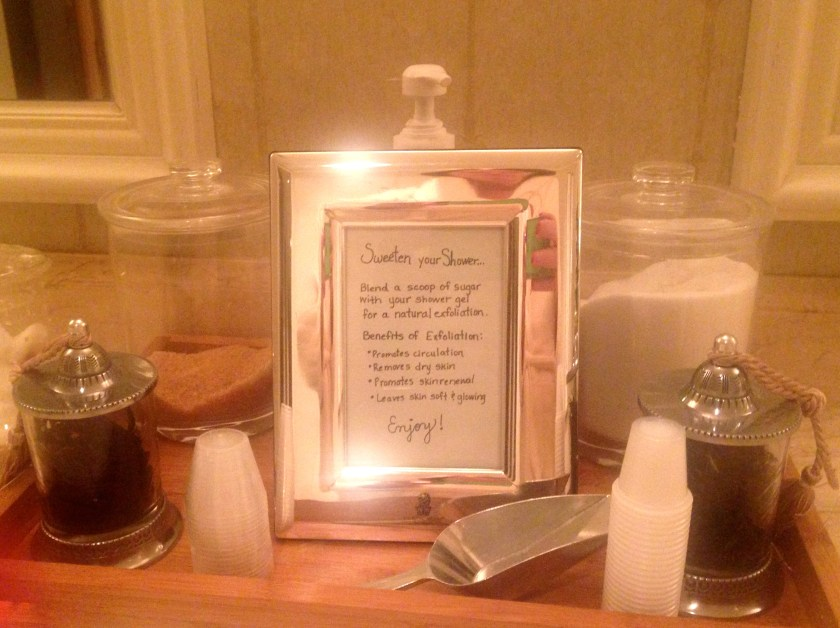 A sweet little perk for guests of The Ritz-Carlton Spa, New Orleans. An assortment of sugars and coffee to add to your shower gel.