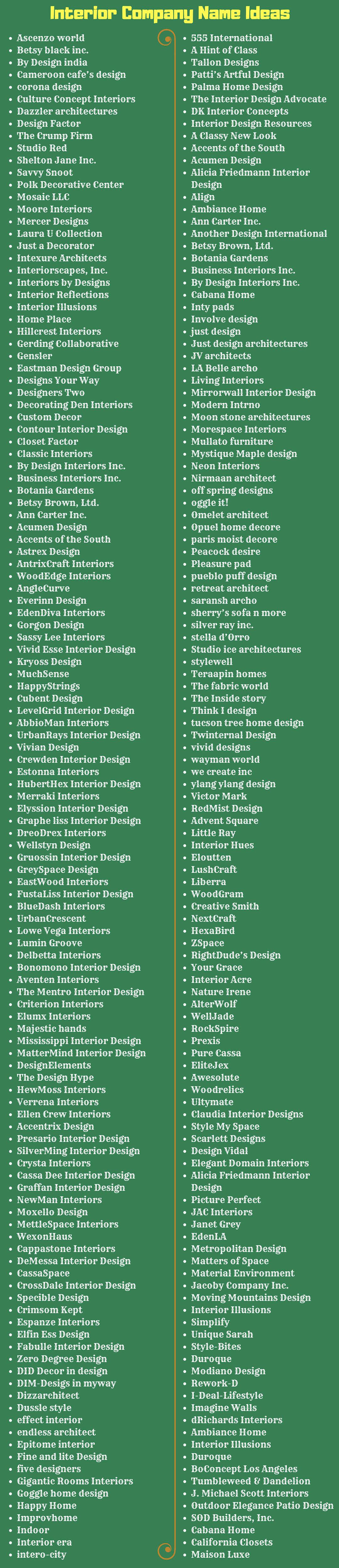 350 Name Ideas For Your Interior Design Company