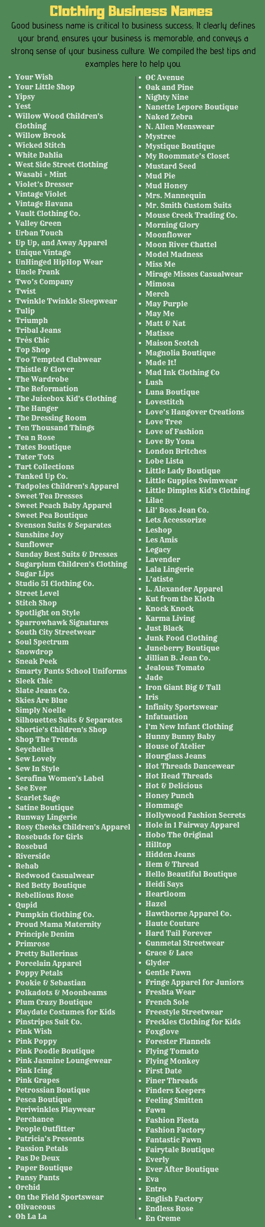 Clothing Business Names 500 Clothing Brand Name Ideas