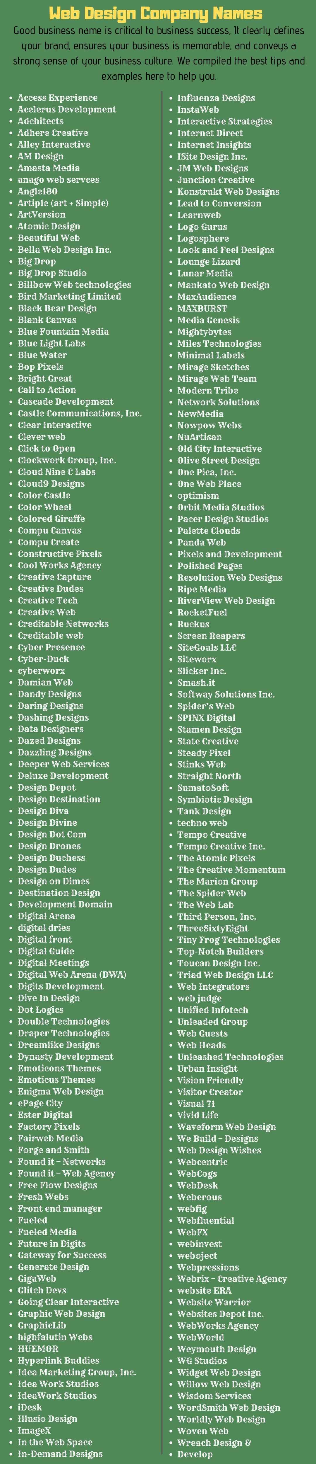 300 Catchy Name Ideas For Web Designing Companies