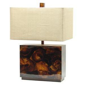 Palecek's Penshell Block lamp boasts a natural penshell base