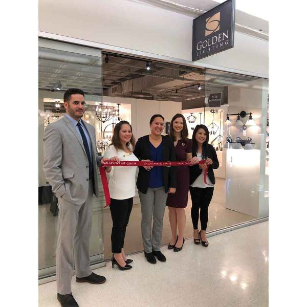 L to R: Ivan Parada, Claire Ancheta Wright, Yuh-Mei Hutt, Danielle Dzurik, and Jinjin Wells cut the ribbon at Golden Lighting's new showroom space at TM 4319