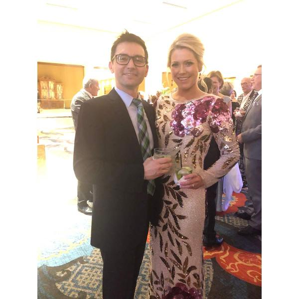 Crystorama's Ryan Ranzino with Molly Mays from Rizzy Home enjoying a cocktail before the ceremony.