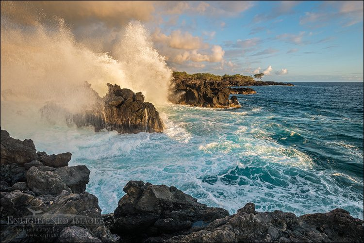 Photo: Waves breaking against lava rocks on the coast at The End of the World, North Kona District, Big Island, Hawaii