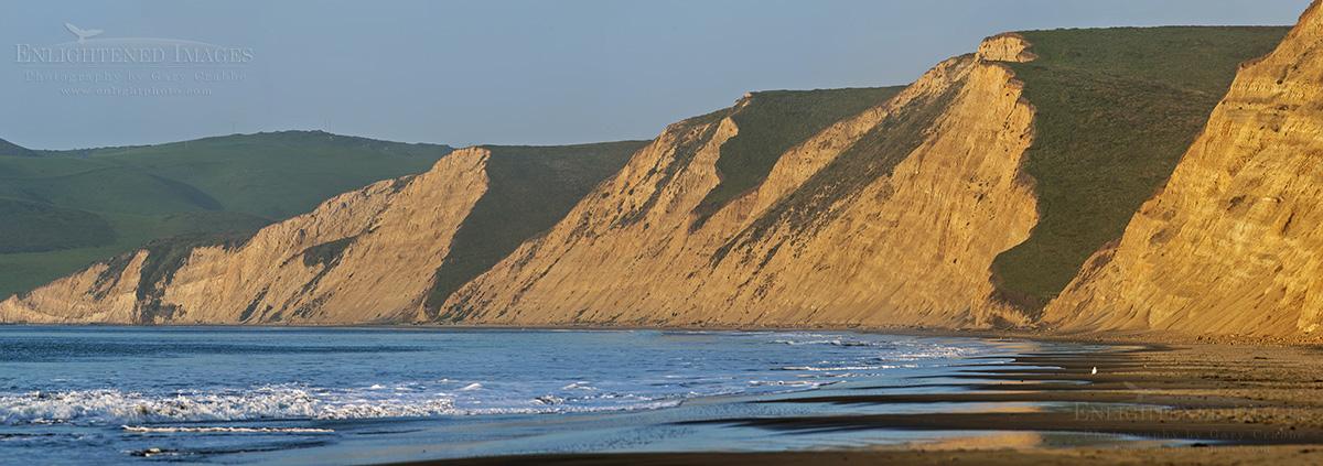 Panoramic Photo of the cliffs at Drakes Beach, Point Reyes National Seashore, Marin County, California
