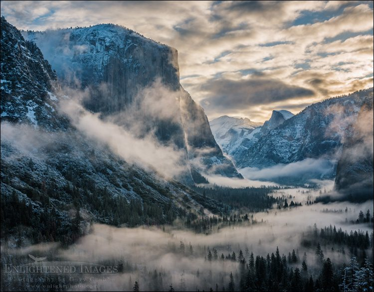 Clearing snow storm over Yosemite Valley, Yosemite National Park, California