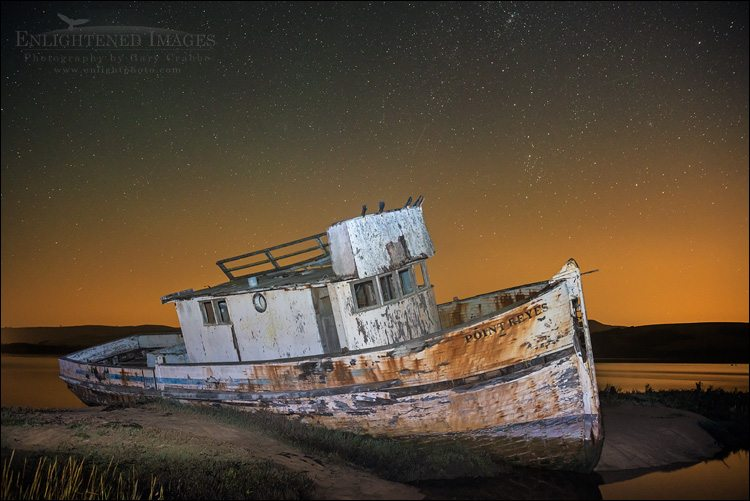 Photo: Stars over the wreck of the Point Reyes, Inverness, Marin County, California