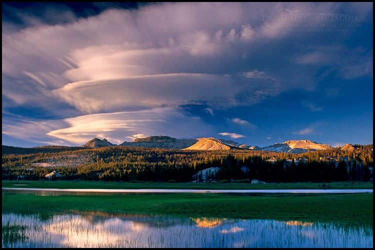 Photo: Lenticular cloud at sunset over Toulumne Meadows, Tioga Pass Road, Yosemite National Park, California - ID# TIGA-1085