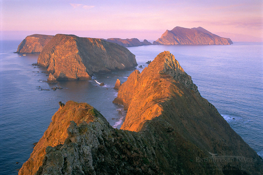 Photo: Morning light on coastal cliffs over Pacific Ocean from Inspiration Point, East Anacapa Island, Channel Islands National Park, California