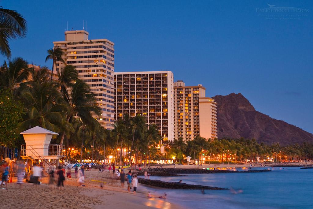 Photo: Evening light over Diamond Head and Waikiki Beach, Honolulu, Oahu, Hawaii