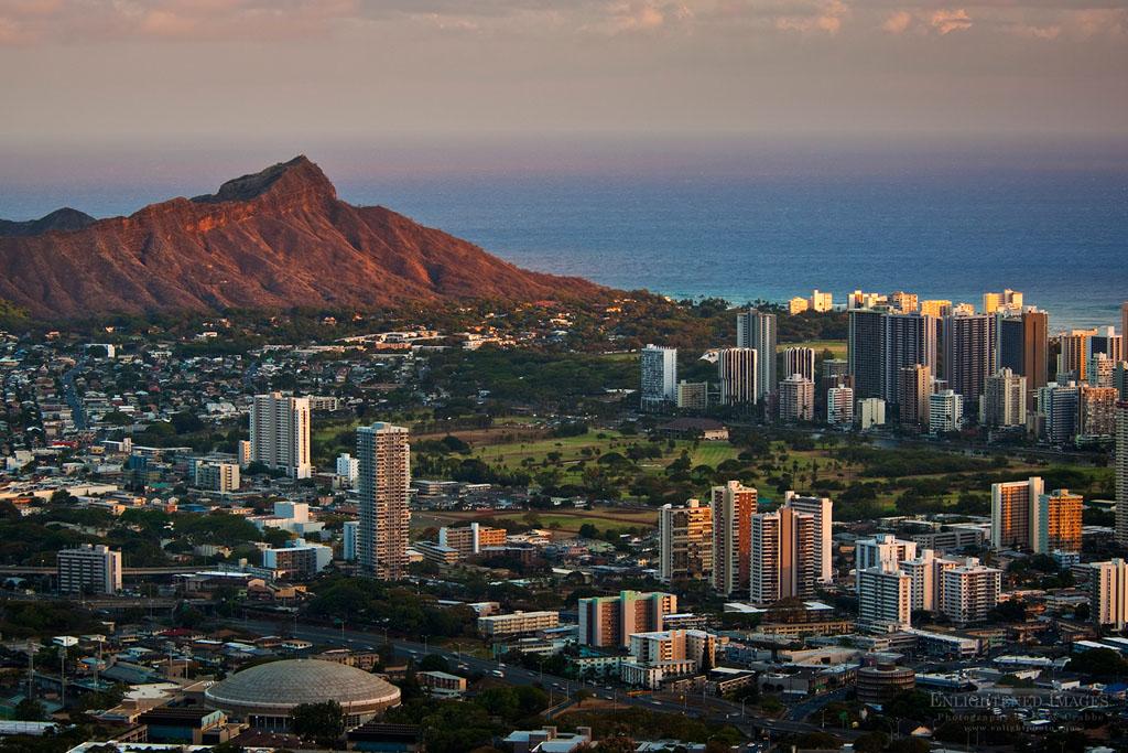 Photo: Sunset light on Diamond Head Crater and Waikiki, Honolulu, Oahu, Hawaii