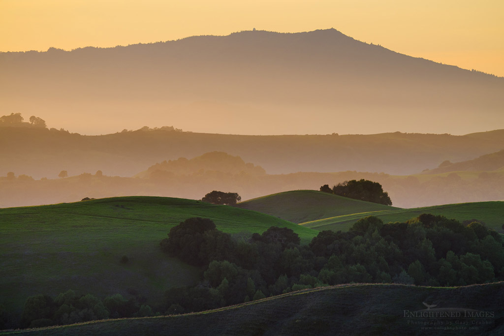 Photo: Sunset light over rolling hills, with Mount Tamalpais in distance, Briones Regional Park, Contra Costa County, California