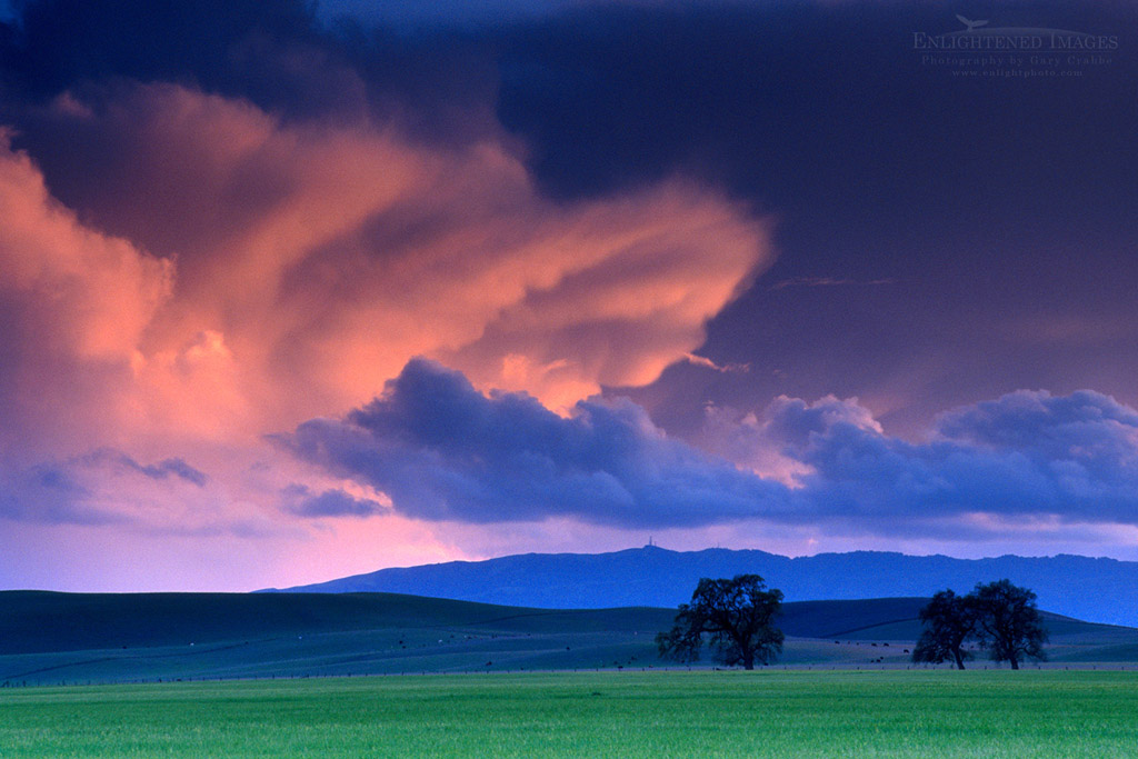 Photo: Alpenglow on storm clouds at sunset over green pastures near Tassajara, Contra Costa County, California