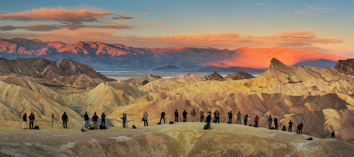 Photo: Panorama of Photographers lined up for the shot at Zabriskie Point, Death Valley National Park, California