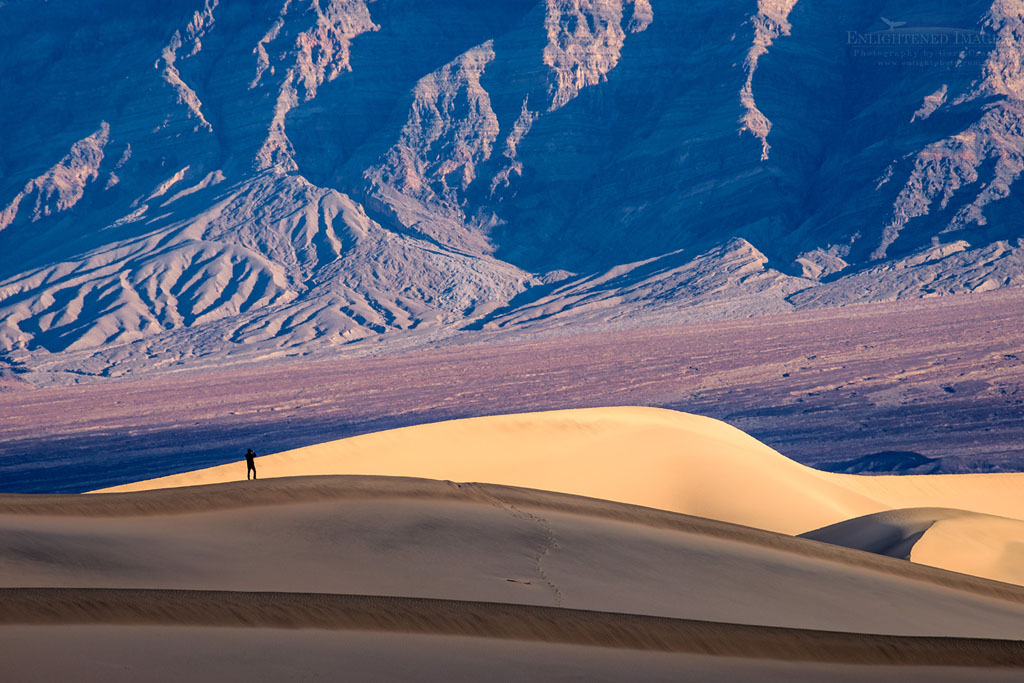 Photo: 'Figure in a Landscape' - Mesquite Flat Salt Dunes, near Stovepipe Wells, Death Valley National Park, California