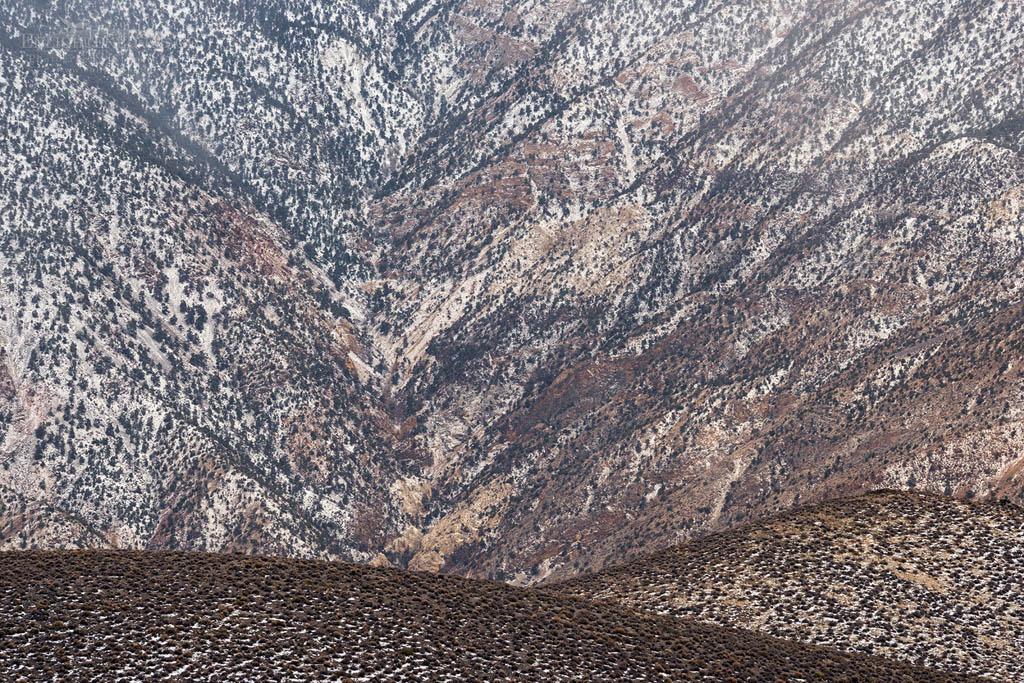 Photo: Fresh snow dusting desert mountain land detail, Aguereberry Point, Death Valley National Park, California
