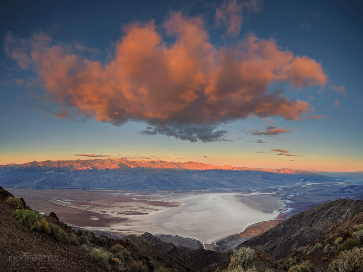 Photo: Morning light on cloud over the Badwater playa as seen from Dante's View, Death Valley National Park, California