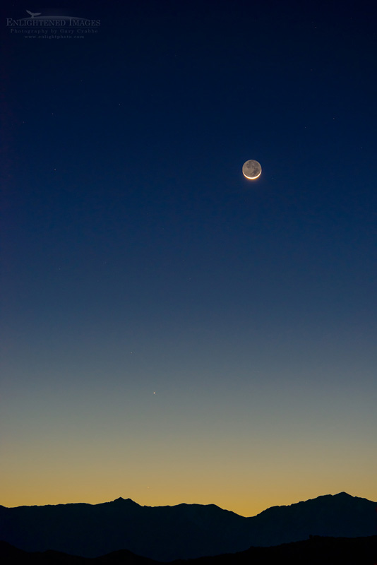 Photo: Earthshine and crescent moon, Death Valley National Park, California - named one of the best nighttime sky parks in the US.