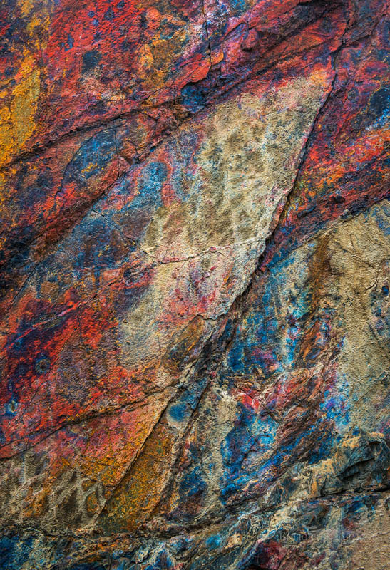 Photo: Colored minerals in rocks near Harrisburg, Death Valley National Park, California