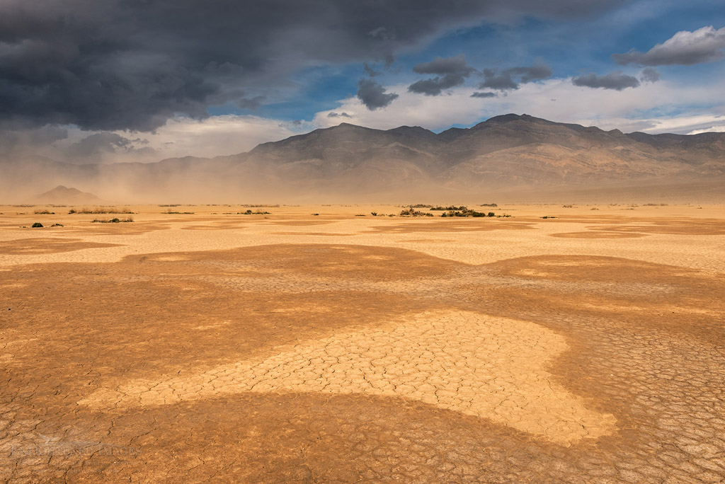Photo: Sandstorm in the dry lakebed of Panamint Valley Playa, Death Valley National Park, California