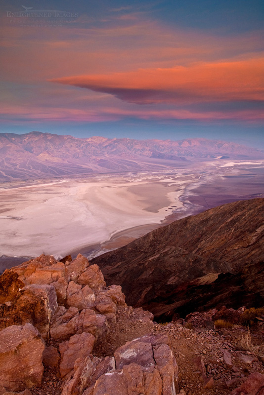 Photo: Morning light and clouds over saltpan at Badwater Basin,  from Dantes View, Death Valley National Park, California