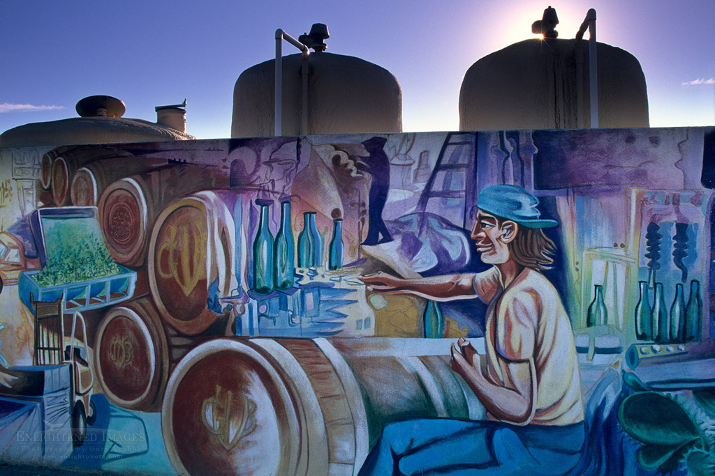 Photo: Mural and wine tanks at Gundlach Bundschu Winery, Sonoma County, California