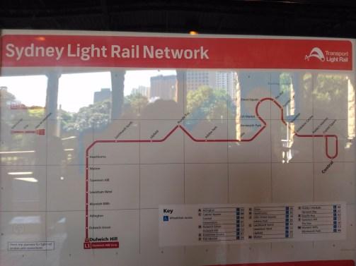 Map of Sydney Light Rail