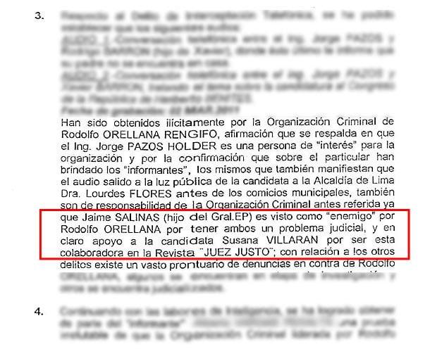 Documento policial da mas pistas de espionaje a Lourdes Flores