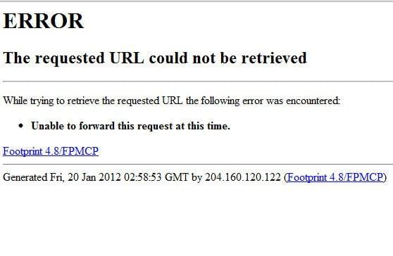 """Así responde el sitio web del FBI, """"no disponible"""""""