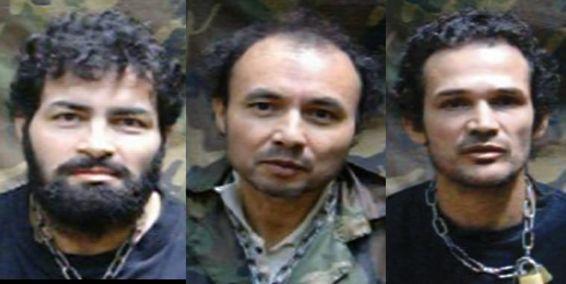 Secuestrados, Luis Alfonso Beltrán (i) Cesar Augusto Lasso (c) y Carlos José Duarte (d).