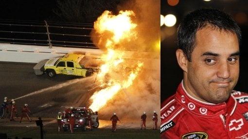 El piloto colombiano Juan Pablo Montoya salió ileso del accidente que sufrió