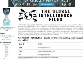 Captura: Otra de Wikileaks